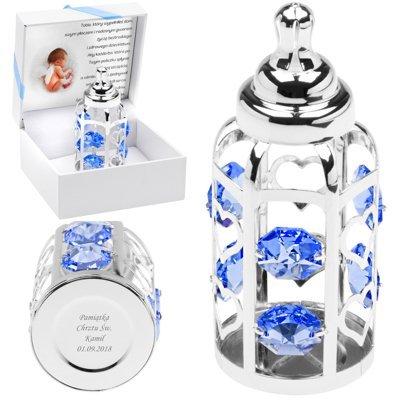 Butelka Swarovski błękitne kryształy Grawer
