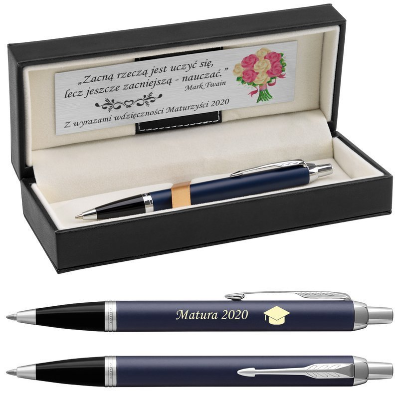 Długopis Parker IM Niebieski Mat CT Czarne etui z Grawerem
