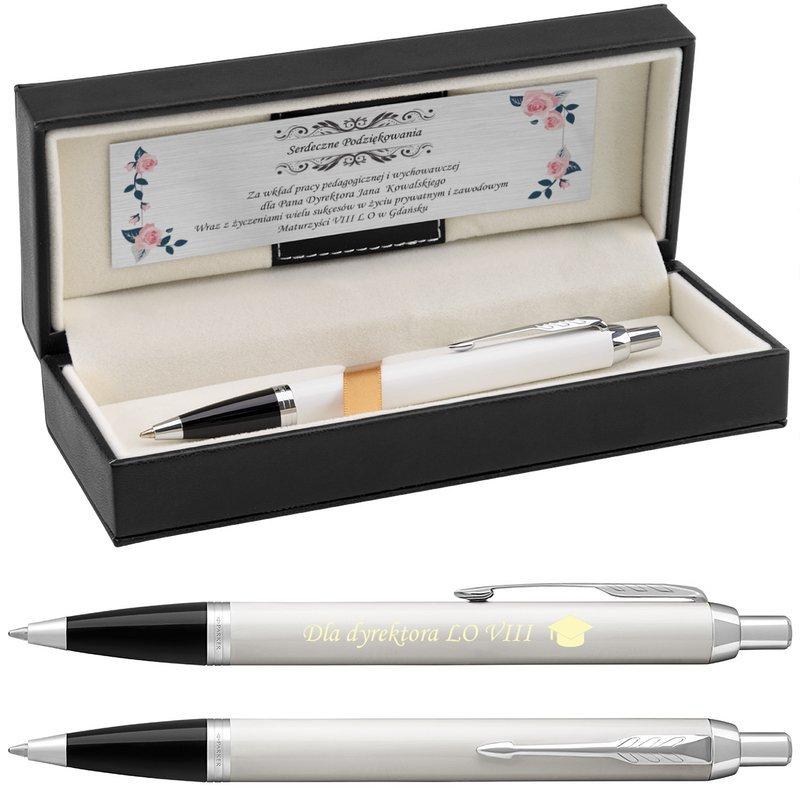 Długopis Parker IM White CT z Grawerem na Zakończenie Roku Szkolnego