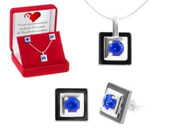 Komplet biżuterii pr.925 czarny kwadrat z niebieskim oczkiem DEDYKACJA