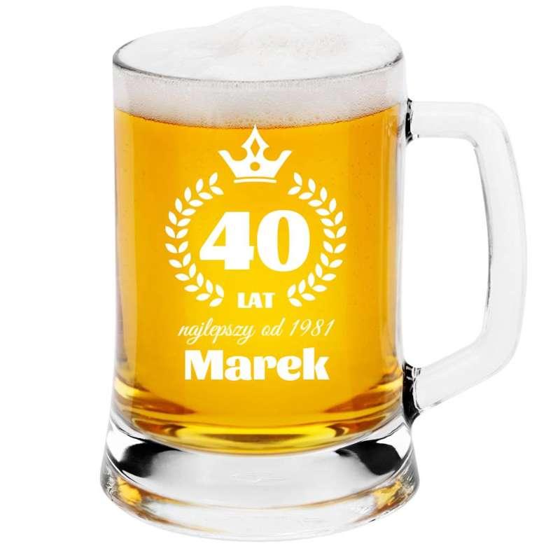 Kufel na piwo 0,5l z Grawerem Szklany Prezent na Urodziny Dzień Taty