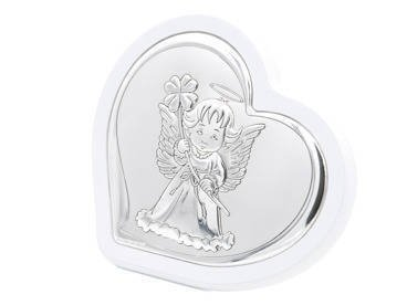 Obrazek Aniołek na białym drewnie Pamiątka Chrztu Dedykacja