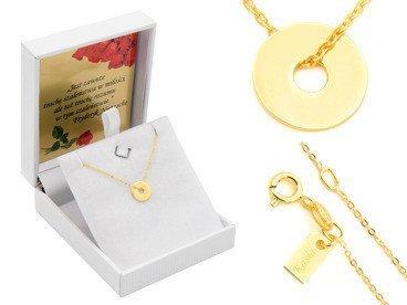 Srebrny Naszyjnik pr. 925 kółko złocony z zawieszką i blaszką przy zapięciu 41-44,5 cm GRAWER różowa kokardka
