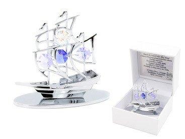 Statek Swarovski Pamiątka z Chrztu Chrzest GRAWER Niebieska Kokardka