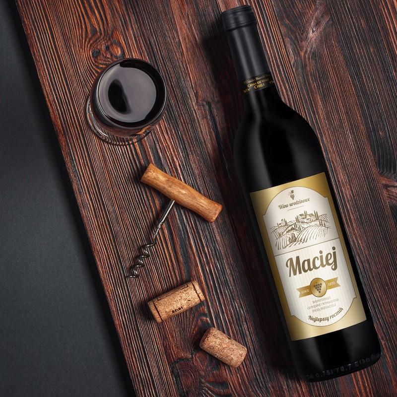 Wino na urodziny El Sol Chile z personalizowaną etykietą / Najlepszy Rocznik / półwytrawne / 750 ml