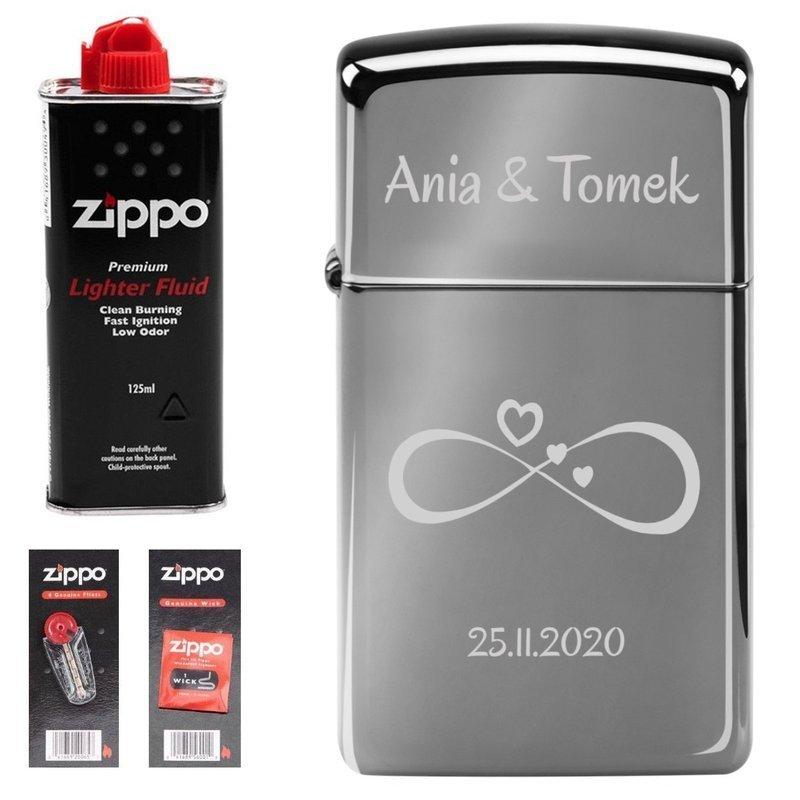 Zapalniczka ZIPPO Z20492 Black Ice Slim Benzyna, knoty, kamienie Grawer