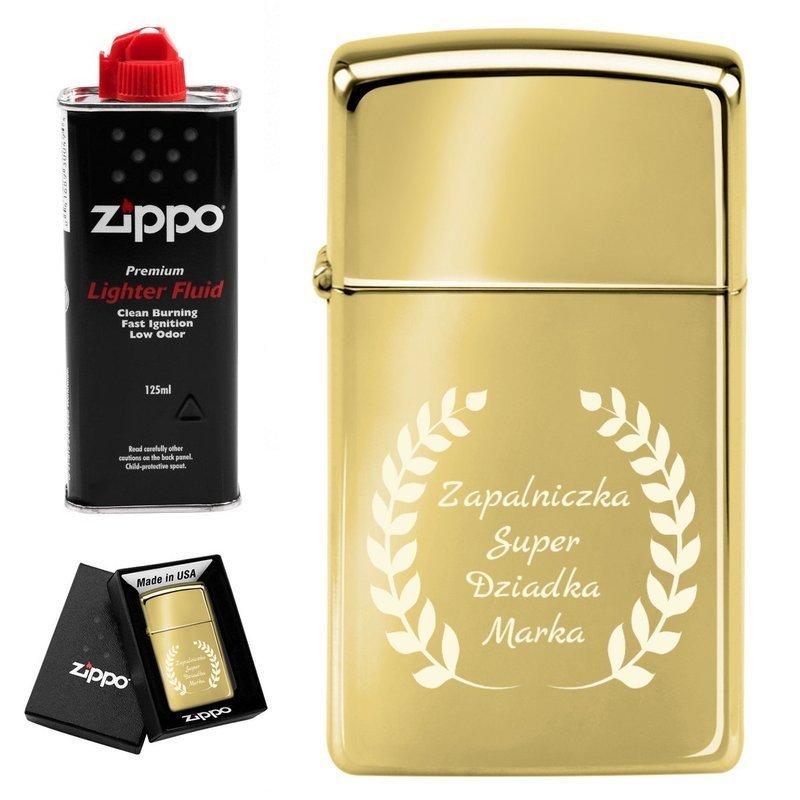 Zapalniczka ZIPPO z1654b Slim High Polish Brass Benzyna Grawer