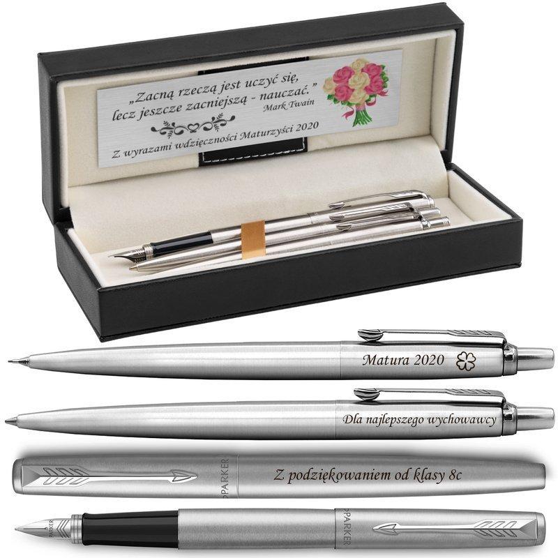 Zestaw Pióro Długopis Ołówek Parker Jotter stalowe CT Etui z Grawerem
