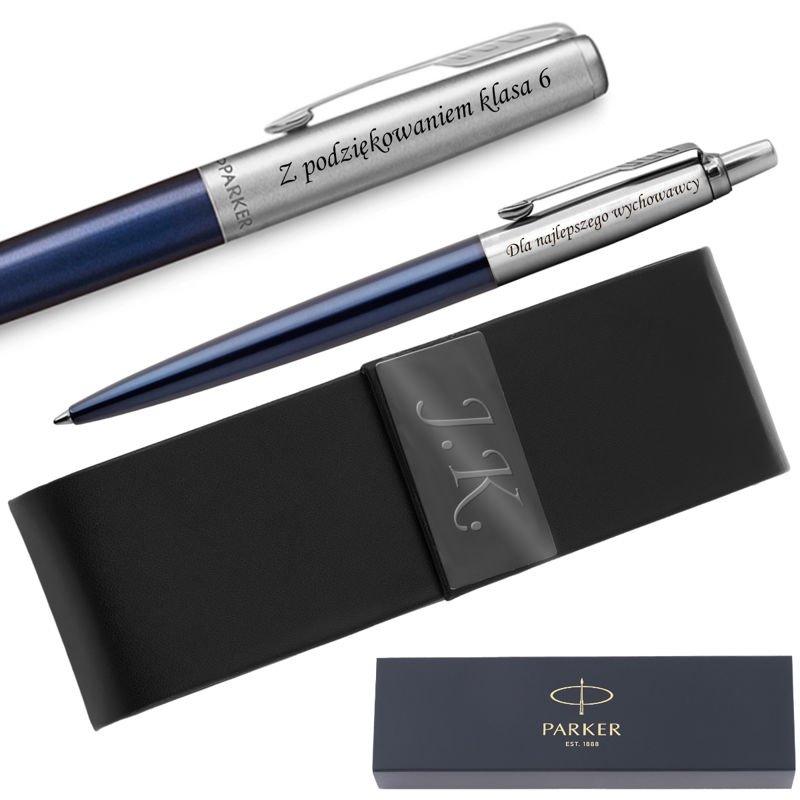 Zestaw Pióro i Długopis Jotter Parker Royal Granatowy CT + Etui Grawer