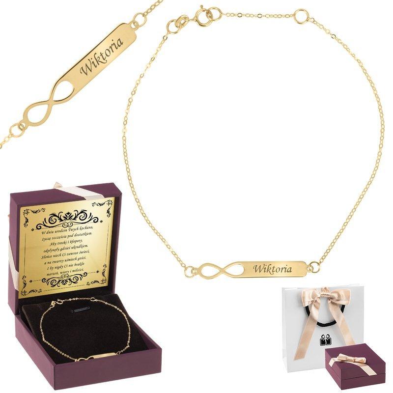Złota bransoletka pr. 333  Nieskończoność z blaszką GRAWER