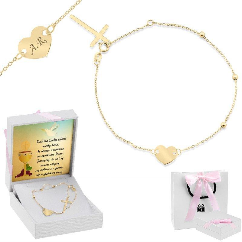 Złota bransoletka z sercem oraz krzyżykiem pr. 333 Prezent z Grawerem