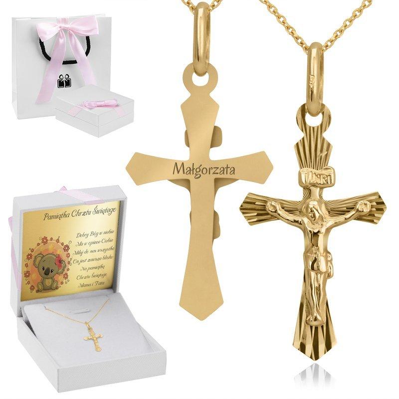 Złoty Krzyżyk z Jezusem Z Grawerem i Dedykacją Róż.