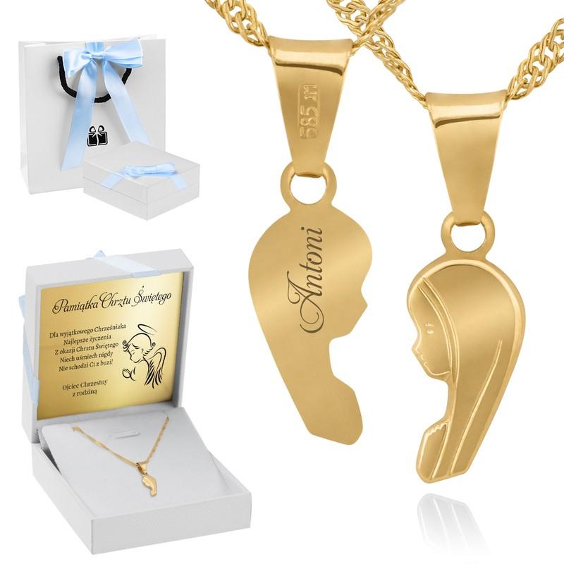 Złoty medalik z Matką Boską pr. 585 Pamiątka Chrzest Święty Komunia Bierzmowanie GRAWER niebieska kokardka