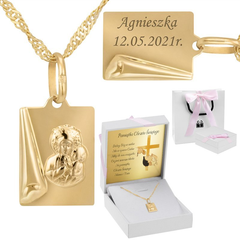 Złoty medalik  z łańcuszkiem z Matką Boską Częstochowską pr. 585 grawer różowa kokardka