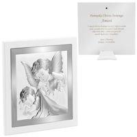 Srebrny Obrazek Anioł Stróż z latarenką 19x19 cm Pamiątka na chrzest z Grawerem