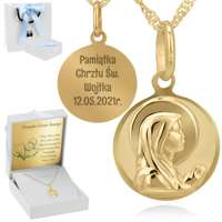 Złoty okrągły medalik z łańcuszkiem próba 585 Matka Boska Chrzest Komunia Bierzmowanie GRAWER Niebieska Kokardka