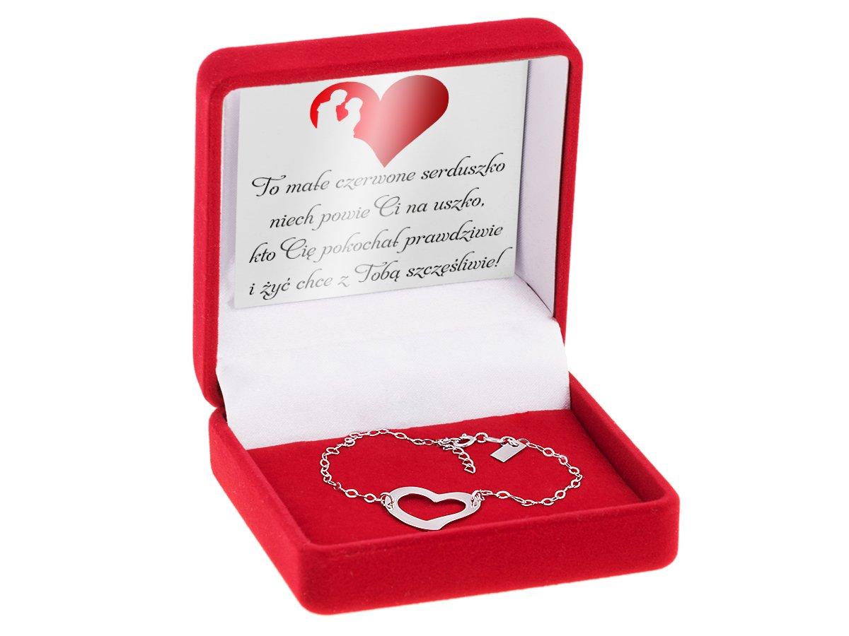 Bransoletka srebrna z  sercem i blaszką pr. 925 GRAWER