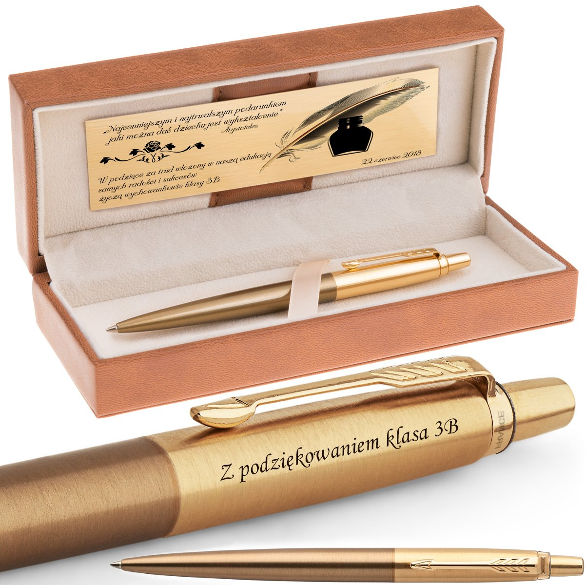 Długopis Parker Jotter PRM West End Brushed Gold GT Grawer