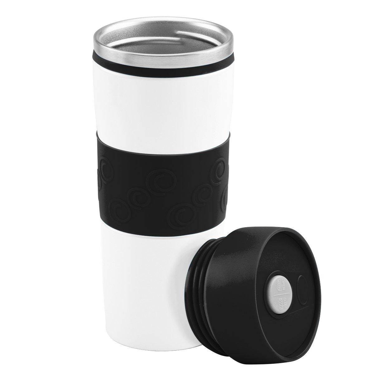 Kubek termiczny 350 ml biało-czarny Grawer