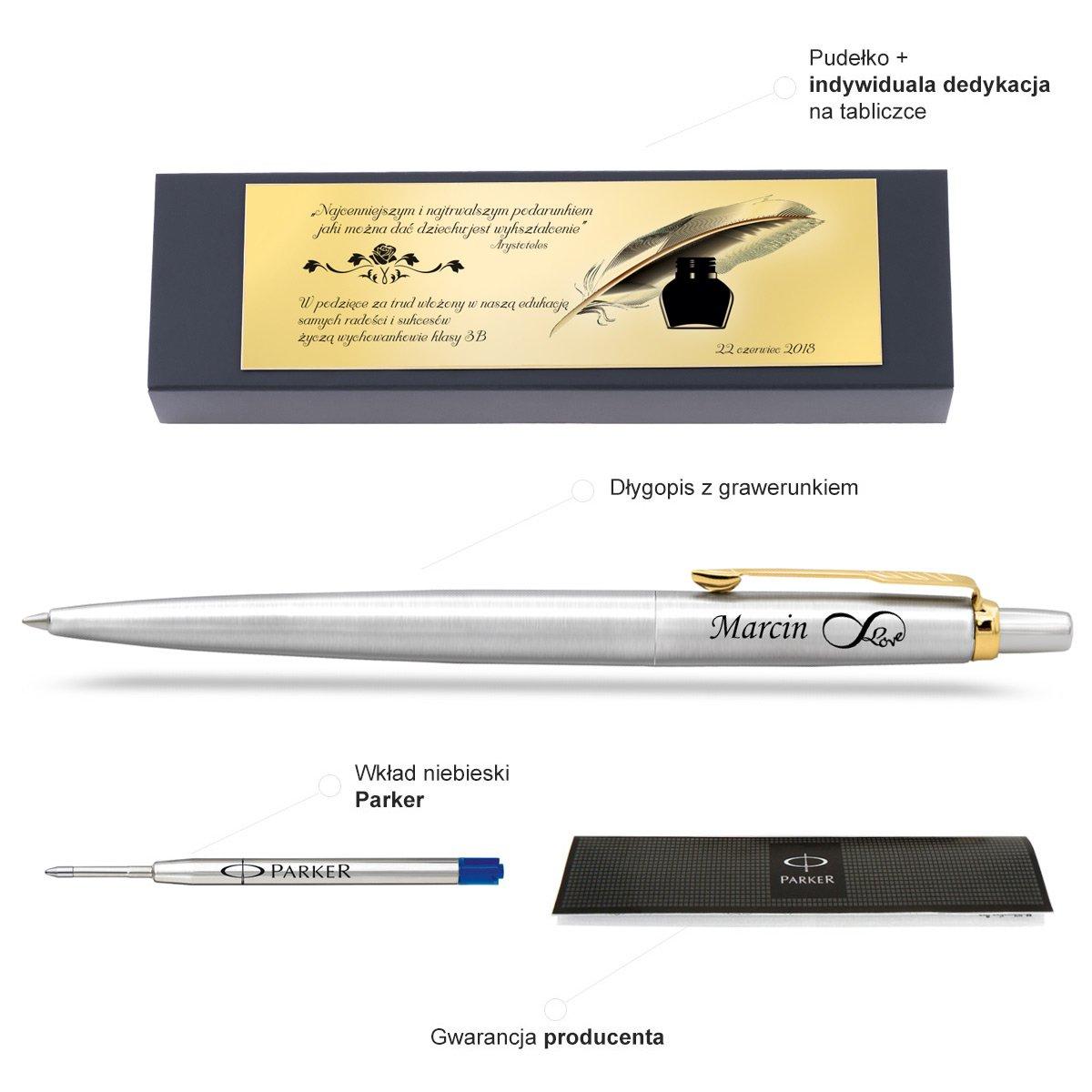 Oryginalny Długopis PARKER Jotter tabliczka z GRAWEREM
