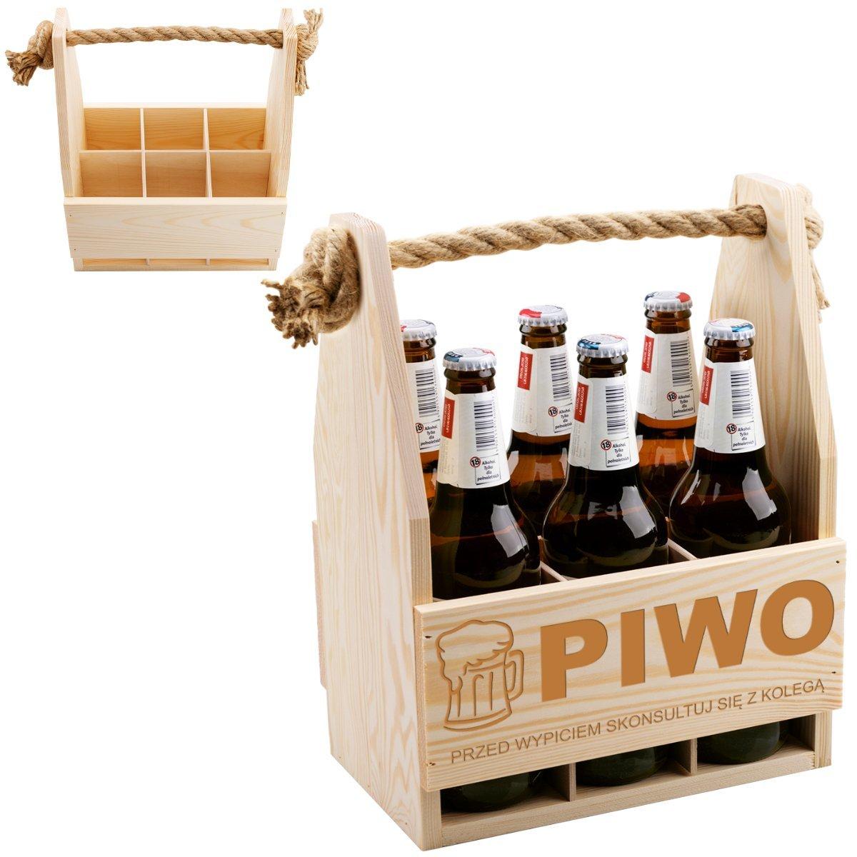 Skrzynka Nosidło na piwo Prezent Ślub Urodziny z Grawerem