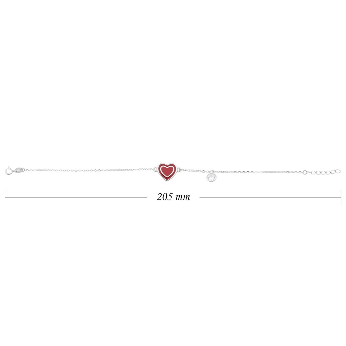 Srebrna bransoletka pr. 925 Czerwone Serce Prezent z Grawerem