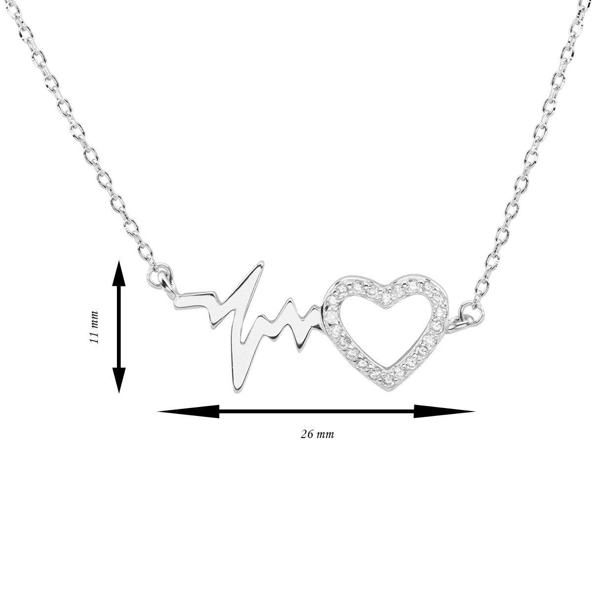 Srebrny Naszyjnik pr. 925 puls i serce Dedykacja
