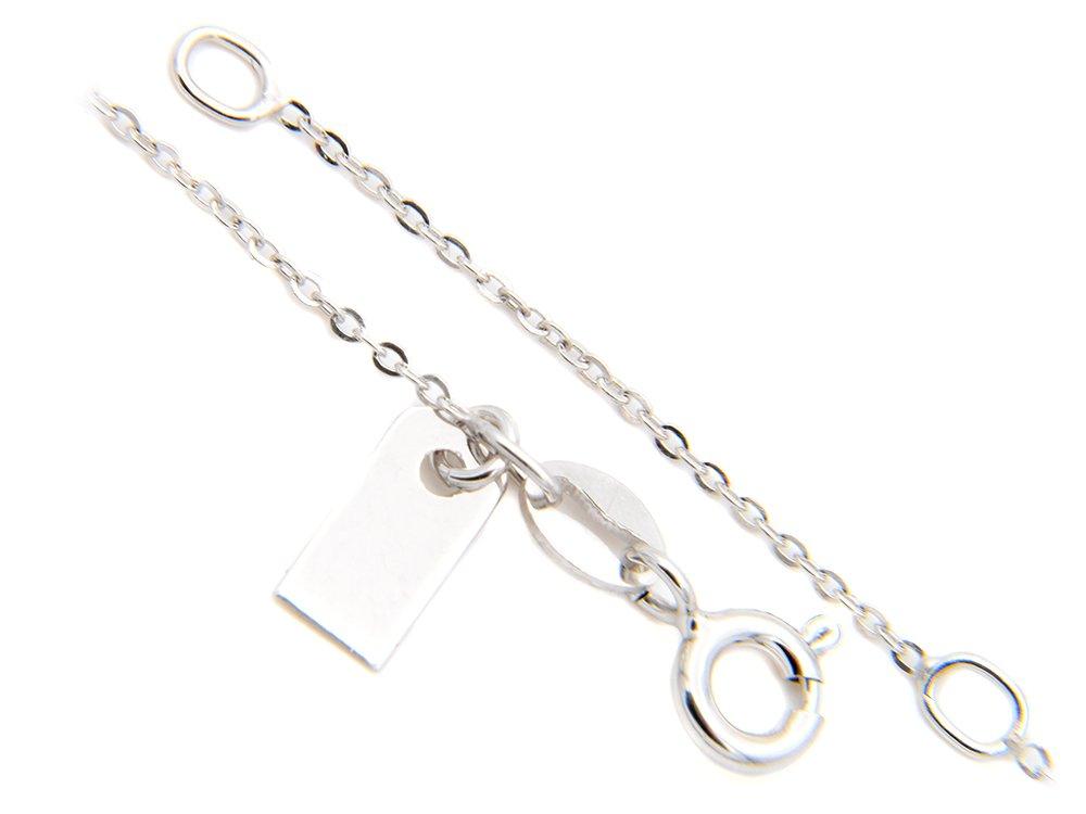 Srebrny Naszyjnik pr. 925 serce z zawieszką i blaszką przy zapięciu 41-44 cm regulowane GRAWER