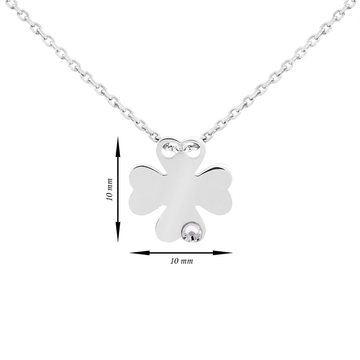 Srebrny naszyjnik pr. 925 koniczynka z cyrkonią Grawer