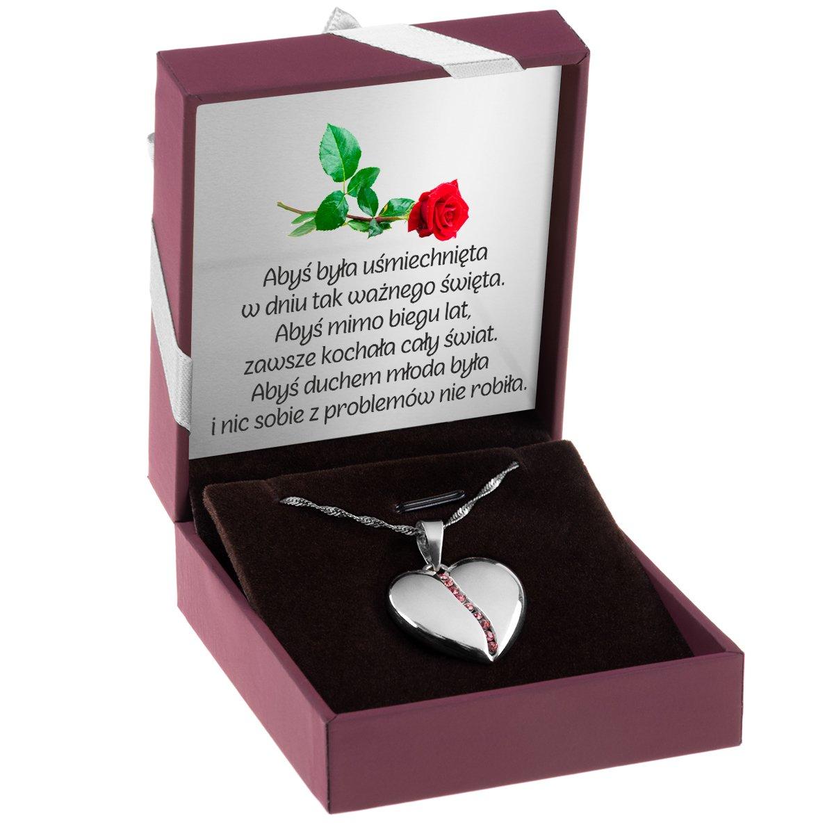 Wisiorek Serce Duże Wypukłe Różowe Kamienie Grawer i Dedykacja