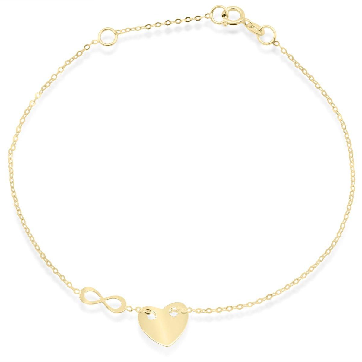 Złota bransoletka z sercem oraz nieskończonością pr. 333 Grawer