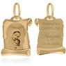Złoty medalik z Matką Boską i Dzieciątkiem w kolorze z Grawerem / na Chrzest / I Komunię Św. / pr. 585