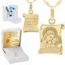 Złoty medalik z łańcuszkiem próba 585 Matka Boska z Jezusem Chrzest Komunia Grawer 1